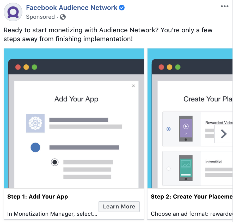 This Facebook ad type example shows a carousel ad.