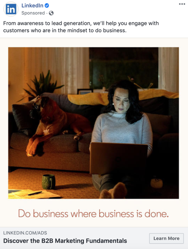 This is an example of a Facebook image ad from LinkedIn as part of their Facebook advertising strategy.