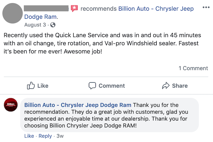 An example of a car dealer responding to social media reviews for their automotive social media marketing strategy