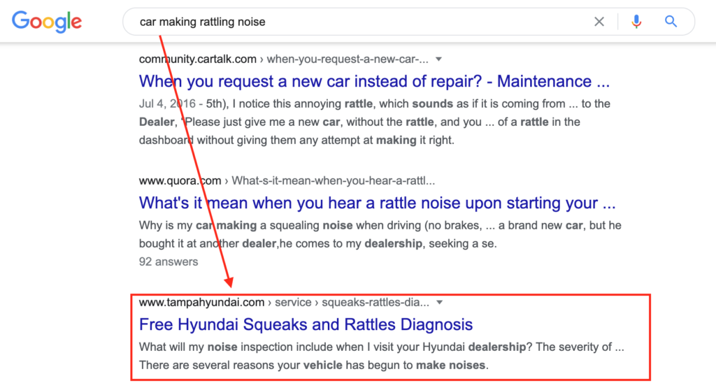 This screenshot shows a search for car rattling noise and the dealership that addresses that query in their content.