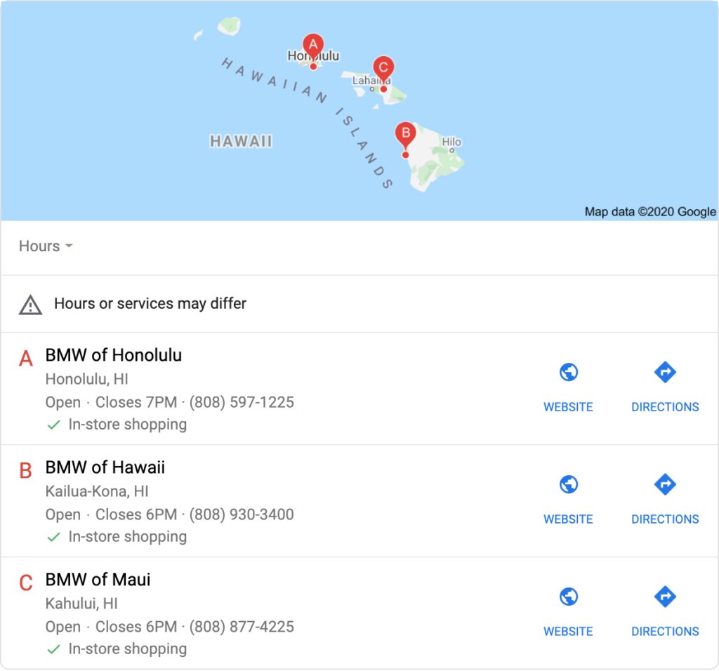 This screenshot shows the Google 3-pack that appears for BMW Hawaii