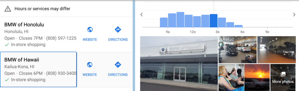 This dealership has included images in their Google Business Profile to complete their listing.