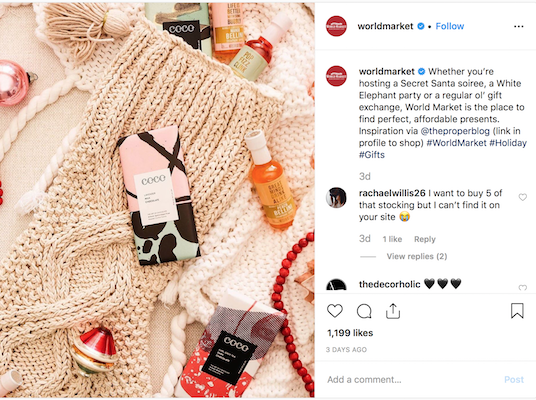 Here's a holiday social post idea from World Market.