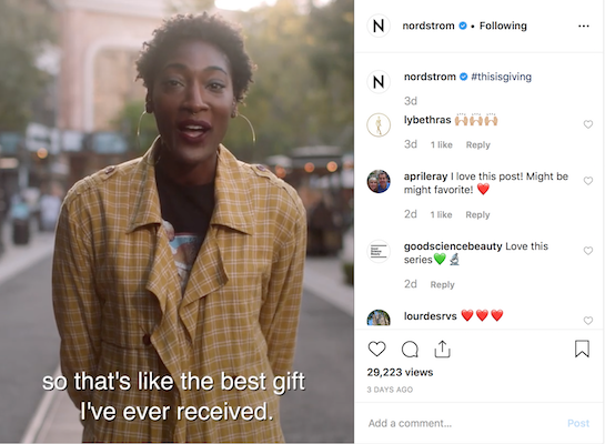 Here's a holiday social post idea from Nordstrom.