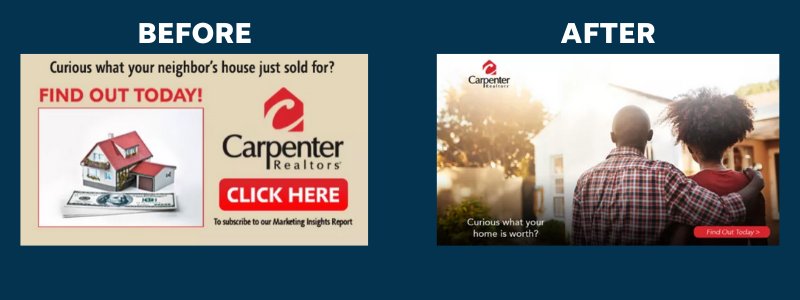 Before and after of a client's display ad using LOCALiQ's data-informed design