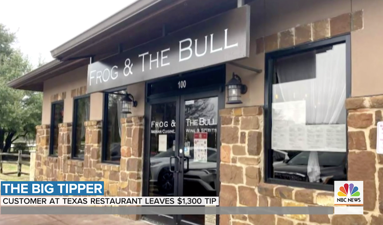 Screenshot of a video from NBC about a big tip received at an Austin, TX restaurant.