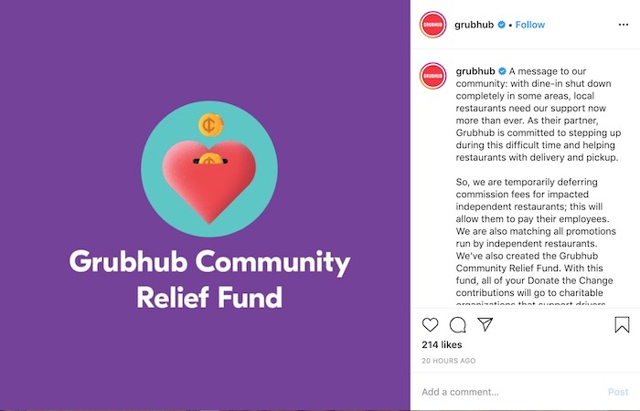 Grubhub Community Relief Screenshot from Their Instagram