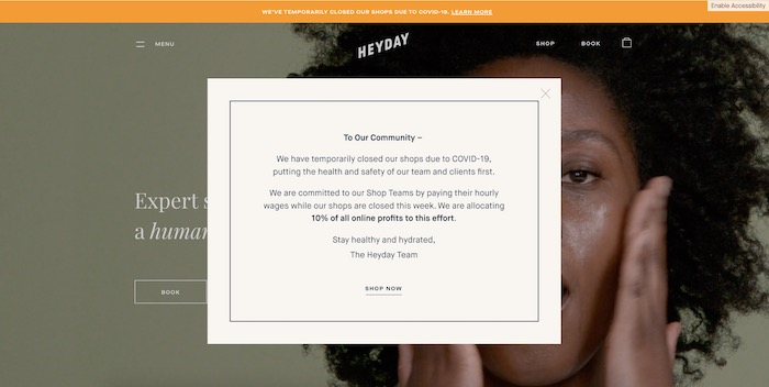 Screenshot of HeyDay's Homepage Detailing How They're Helping Employees During Coronavirus.