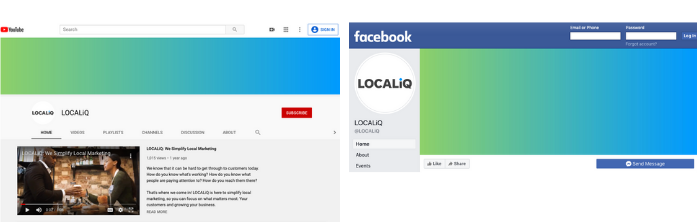 Side-by-side of LOCALiQ YouTube and Facebook page to show coverphotos.