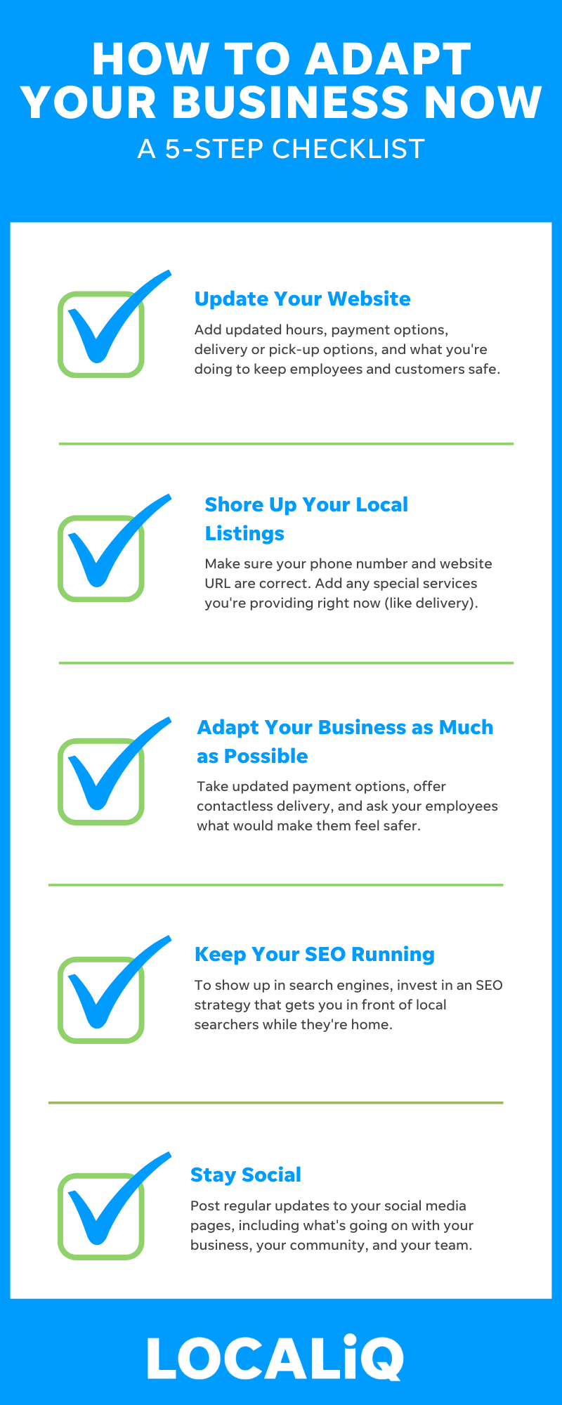 LOCALiQ Infographic - How to Adapt Your Business in 5 Easy Steps