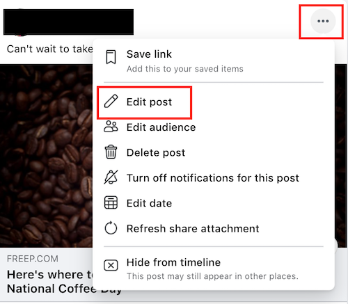 A screenshot that shows how to add a location after posting on Facebook.