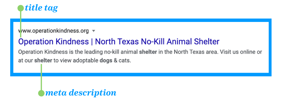 Here's an example of title tags and meta descriptions