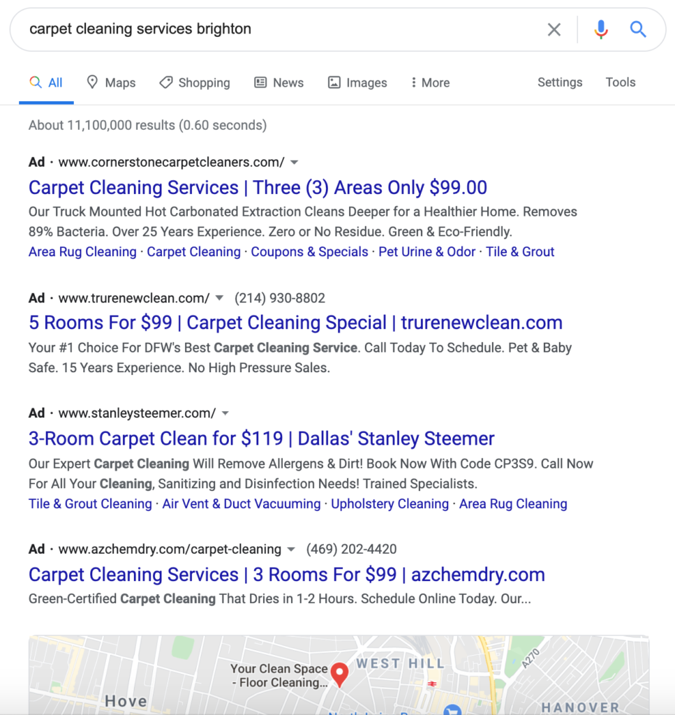 Marketing strategy for small businesses - This example shows how paid search ads on Google take up the whole top of the page.