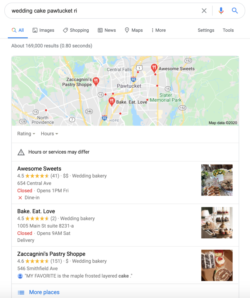 Marketing strategy for small businesses - Your Google My Business listing provides the info that shows on the Google 3-pack.