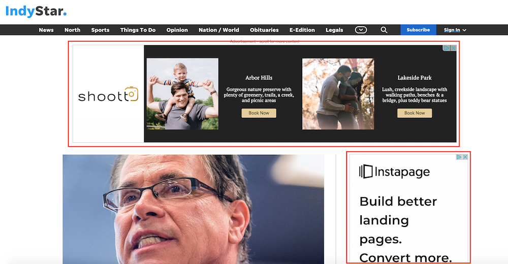 Here's an example of two display ads on a local news publication.