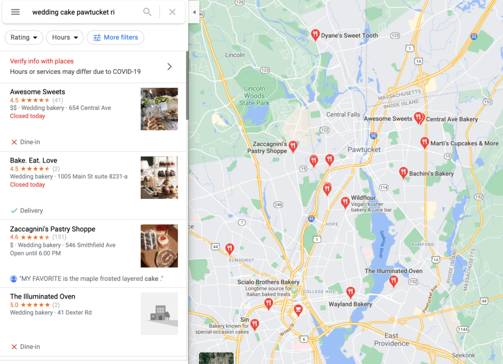 Marketing strategy for small businesses - Your Google My Business listing provides the info that shows up on Google Maps.