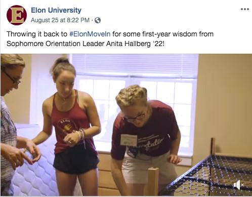 This school shared a video from a current student as part of their higher education marketing strategy.