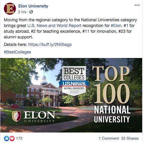 Make sure to share your school's accomplishments as part of your higher education marketing