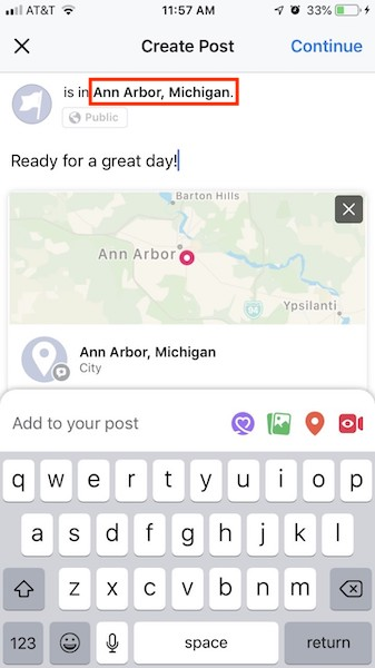 Now you're ready to publish your location post on Facebook mobile.