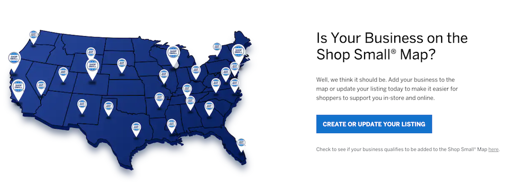 Add your business to the Shop Small map with American Express to show your participating in Small Business Saturday.