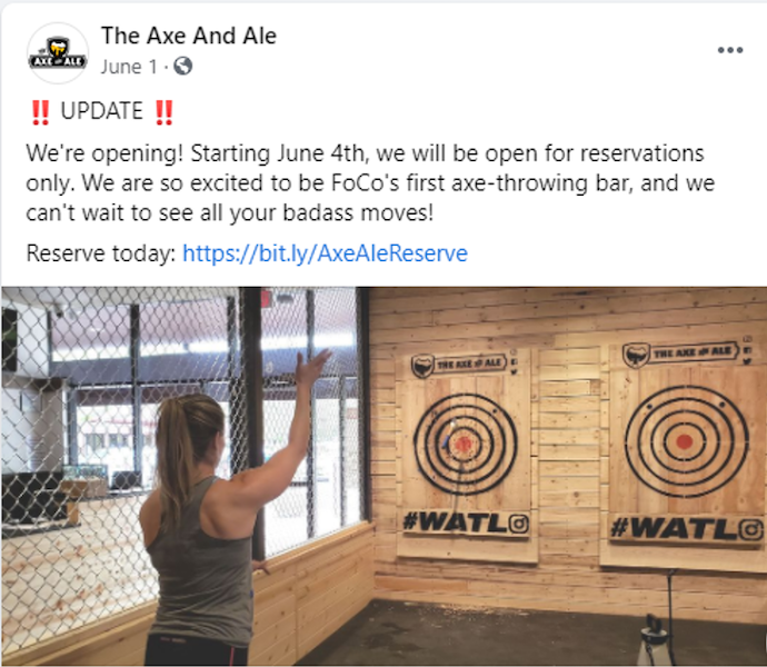 A Facebook ad Axe And Ale ran with LOCALiQ to promote the opening of their new business.