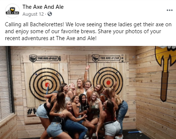 A Facebook post LOCALiQ team shared for Axe And Ale to promote their new business.