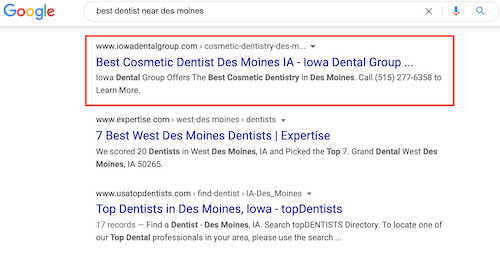 The results after the Map Pack include a mix of local listings and dental websites.