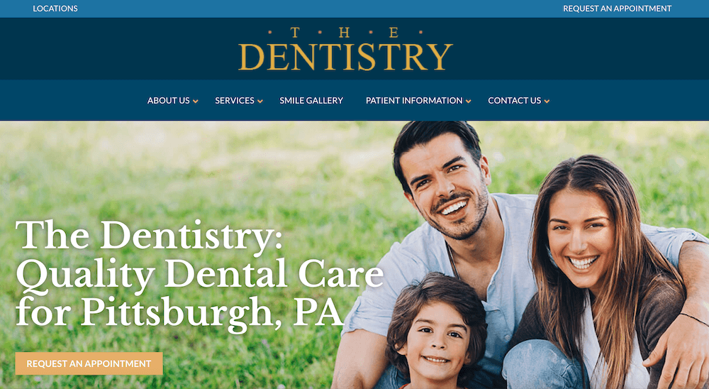 This dental group's website has a clean layout, easy-to-use navigation, and a clear call-to-action.