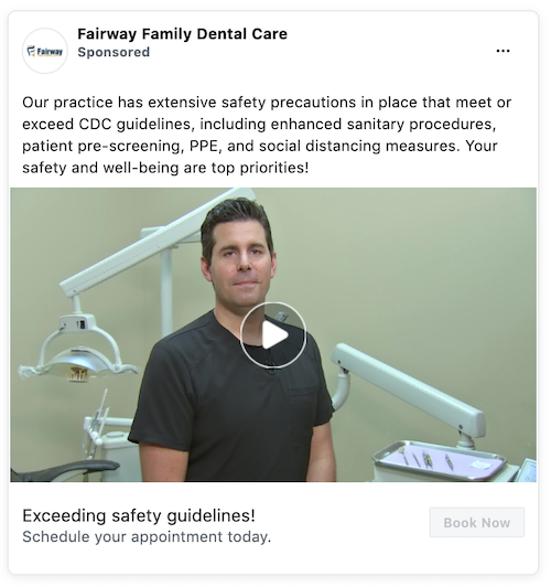 Example of a Facebook ad from a dentist.