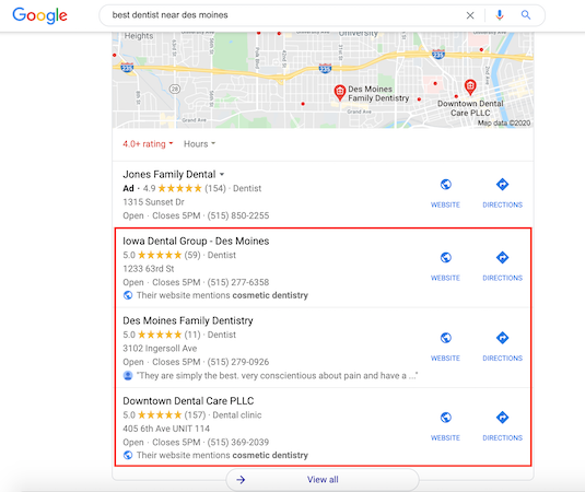 The local map pack appears after PPC ads on Google and can also contain local PPC ads.