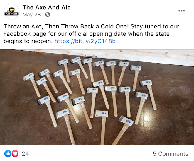 The Axe And Ale built suspense for their opening through social posts created by the LOCALiQ social media marketing team.