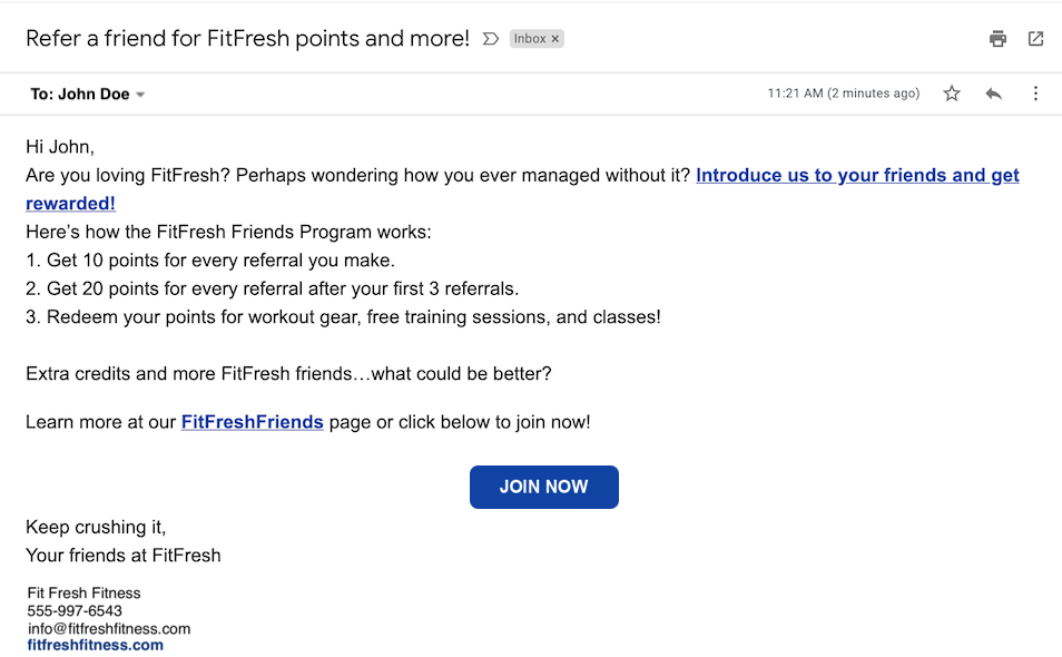 small business email examples and templates referral program email
