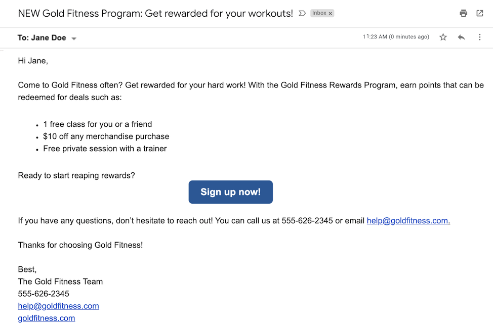 small business email examples and templates rewards program