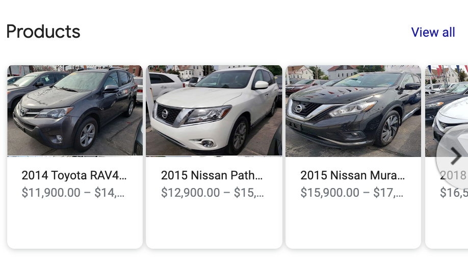 Use the products feature for your car dealership's Google My Business listing to promote inventory.