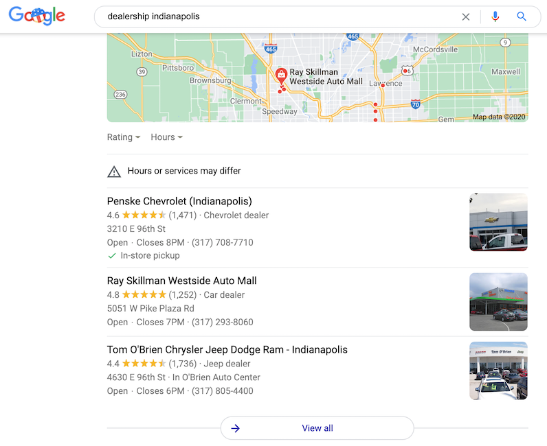 Your dealership's Google My Business listing is important for your car dealer marketing because it gives you another way to show up on Google.