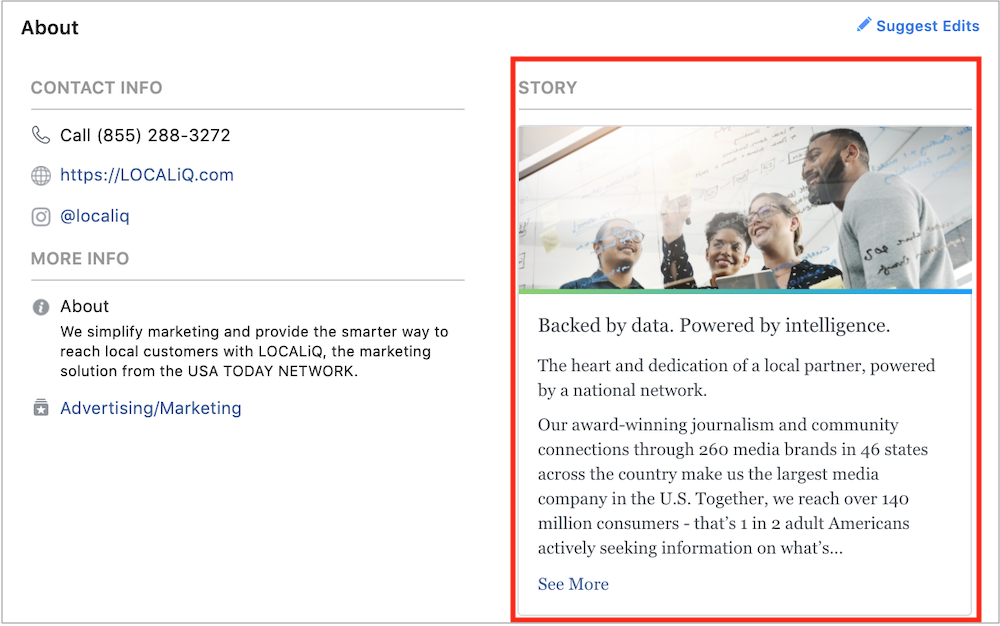 You can share your brand story on Facebook in your About section.