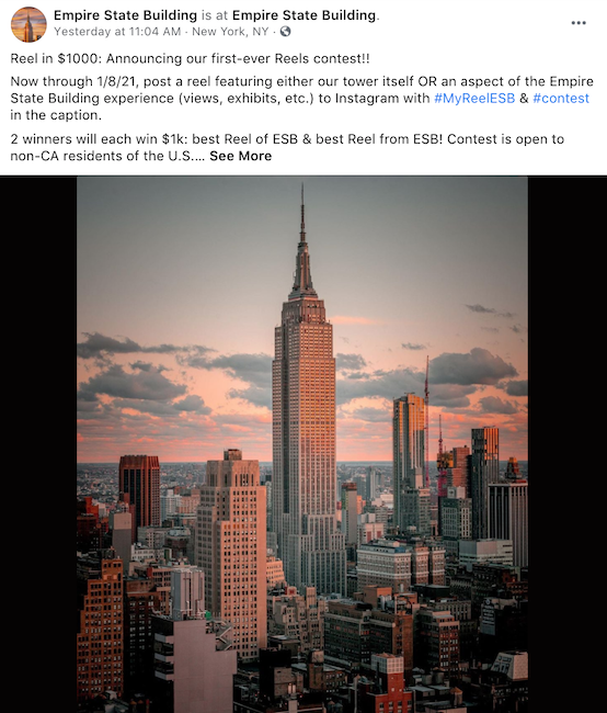 One holiday facebook idea is to run a photo or video contest - like this one from the empire state building.