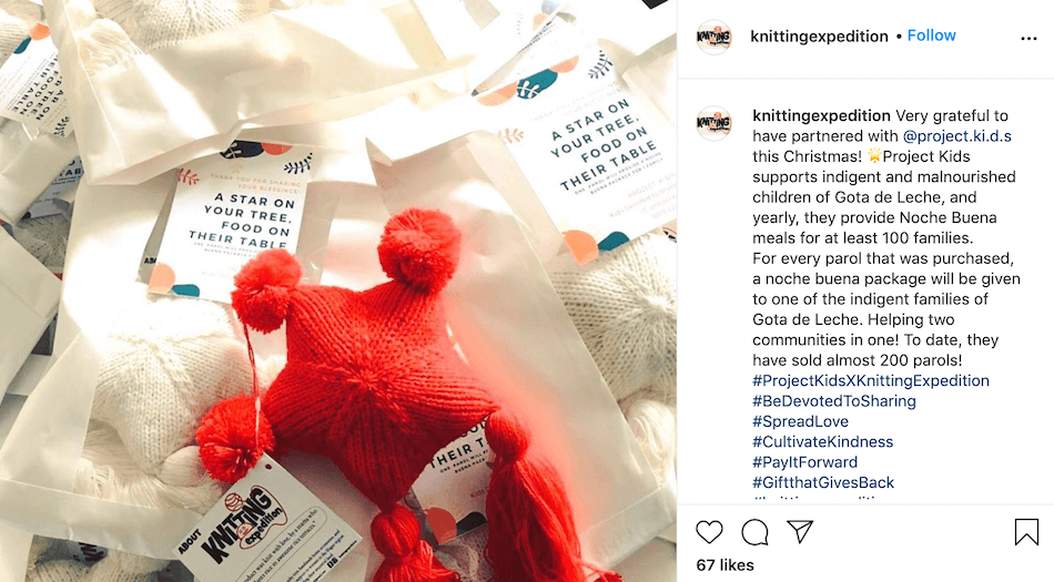You can partner with influencers or organizations to run promotions for a cause with your holiday instagram posts.