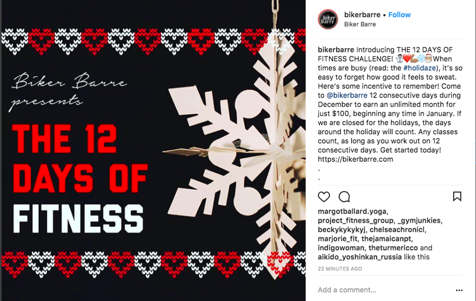 This instagram holiday giveaway idea is a great fit for your fitness marketing.