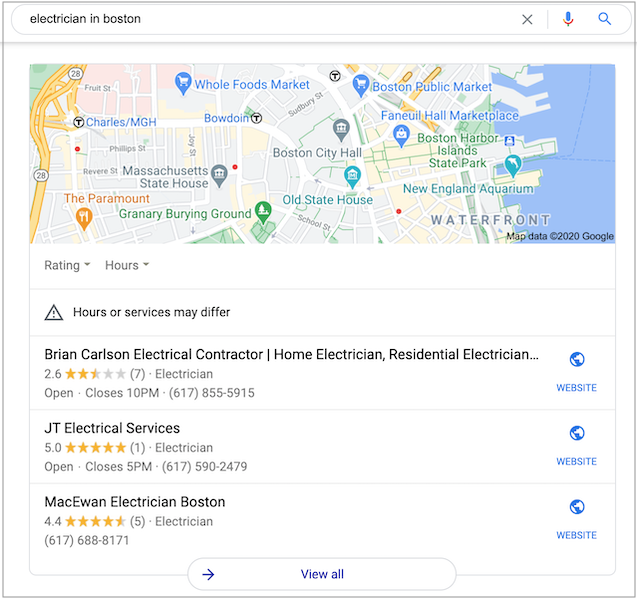 The Google local 3 pack shows local search results from Google My Business.