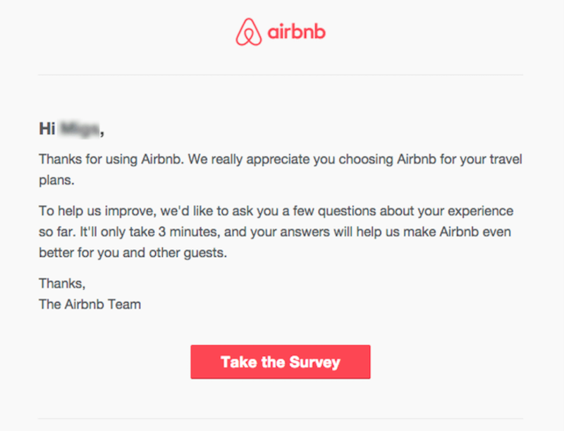 This example email marketing message shows how airbnb is nurturing leads by asking for feedback.