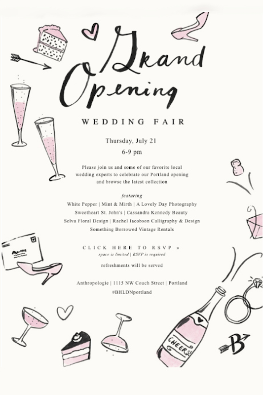 Another grand opening idea is to invite speakers to your event - this bridal boutique grand opening featured local wedding experts that brides and grooms-to-be would love to hear from.