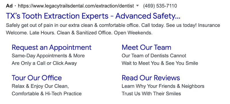 This dentist focuses on their niche market in their ad.