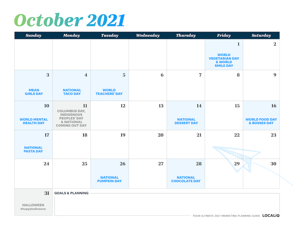 Plan your October 2021 marketing with this marketing planning calendar.