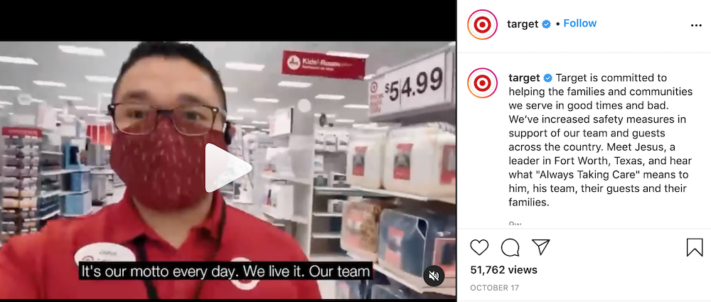 Target is one brand that has been sharing unfiltered content on instagram in 2020 and into 2021.