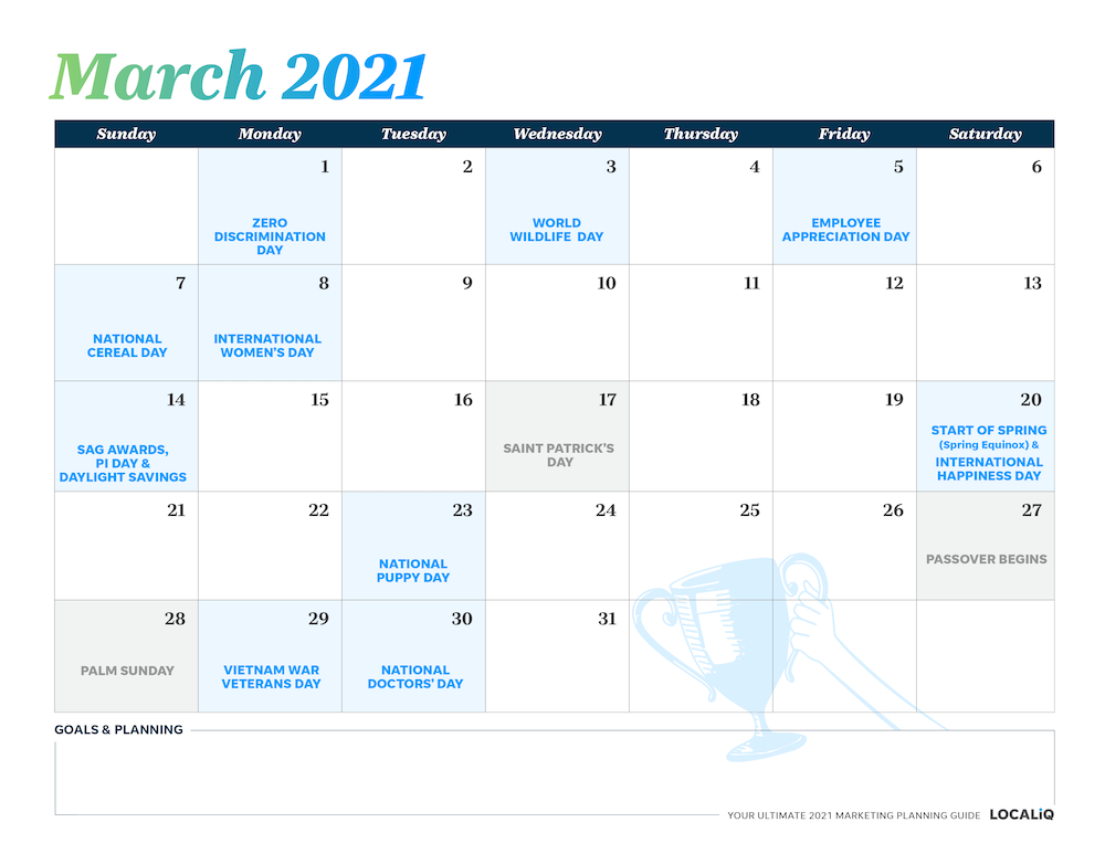 Plan your March 2021 marketing with this marketing planning calendar.