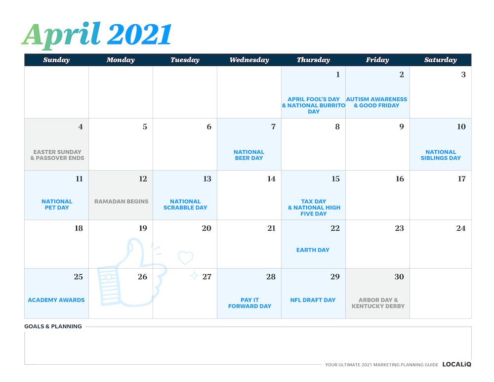 Plan your April 2021 marketing with this marketing planning calendar.