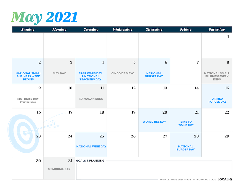 Plan your May 2021 marketing with this marketing planning calendar.