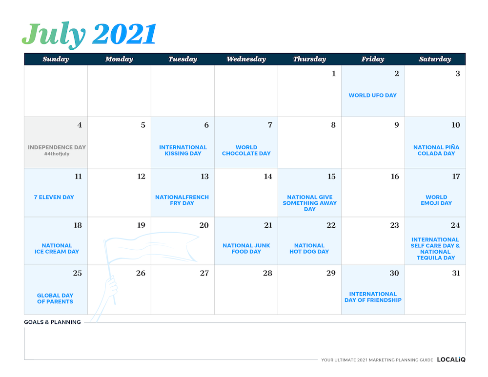 Plan your July 2021 marketing with this marketing planning calendar.
