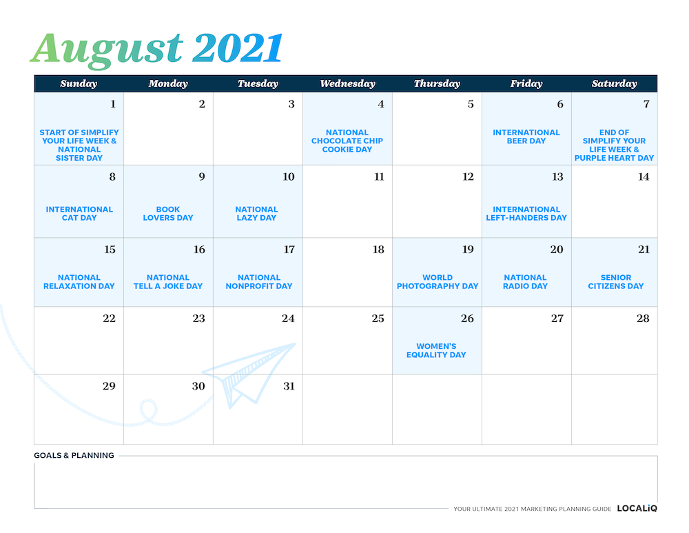 Plan your August 2021 marketing with this marketing planning calendar.